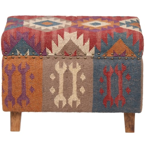 Handmade Kilim Upholstered Wooden Storage Stool (India)