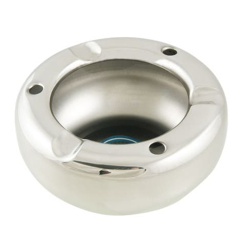 Silver Tone Stainless Steel Bowl Shape Ashtray
