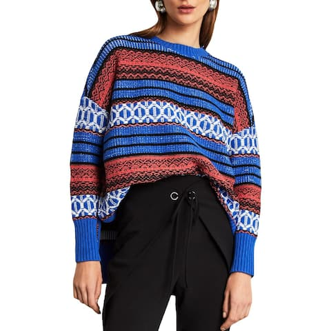 BCBG Max Azria Womens Pullover Sweater Jacquard Oversized - M