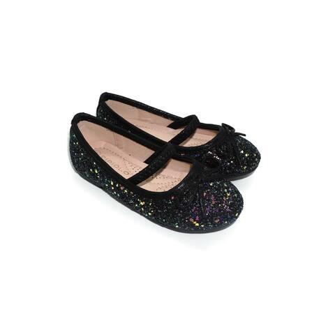 Pipiolo Girls Black Sparkling Mary Jane Ballerina Flats