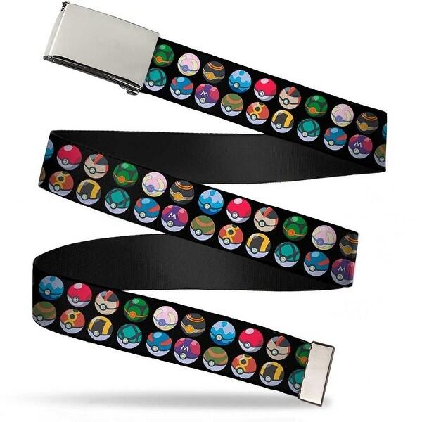 Blank Chrome Buckle Pok� Balls Mixed Black Webbing Web Belt