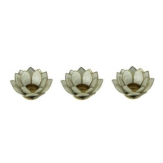 White Capiz Shell Lotus Flower Small Tealight Candle Holder Set of 3 - 2.25 X 4.75 X 4.75 inches