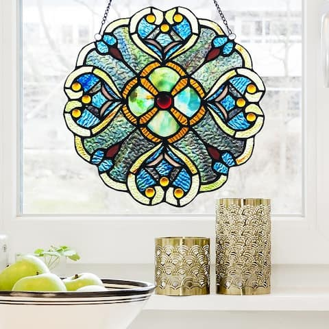 Copper Grove Vlaardingen 12-inch Blue and Aqua Floral Stained Glass Window Panel