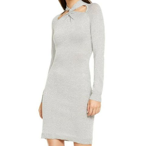 Michael Kors Women's Twist-Neck Sweater Dress Grey Size Small