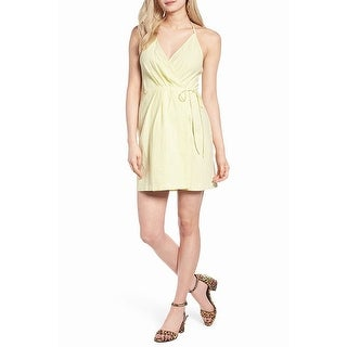 ASTR Pale Yellow Womens Size XS Solid Tie-Neck Knit Wrap Dress
