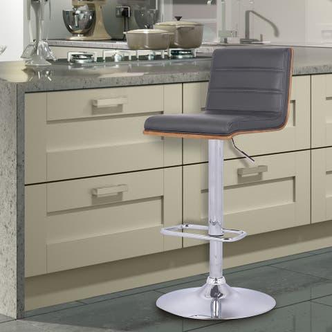 Armen Living Aubrey Adjustable Swivel Barstool in PU upholstery and Walnut Back - Chrome, Walnut