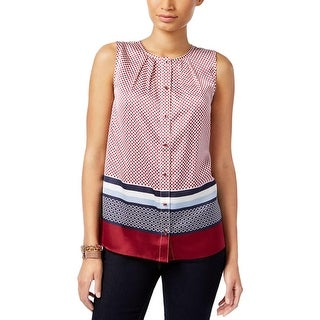 Tommy Hilfiger Womens Button-Down Top Satin Printed