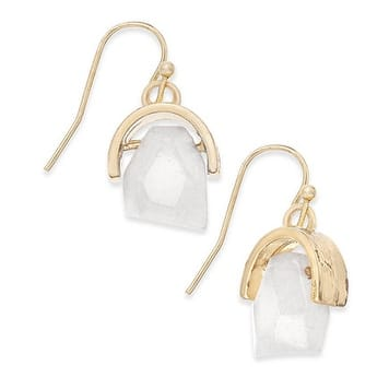 Inspired Life Gold-Tone Stone Drop Earrings - White - Small