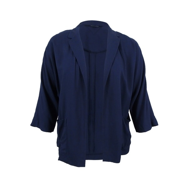 e573b2e01a14ff Shop Tommy Hilfiger Women's Three-Quarter-Sleeve Notched Blazer (Masters  Navy, 14) - masters navy - 14 - Free Shipping On Orders Over $45 - Overstock.com  - ...