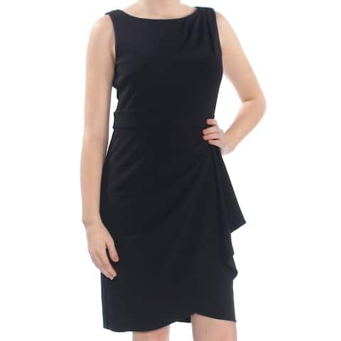 f1a10f3c487 DKNY Womens Black Draped Scuba Sleeveless Boat Neck Above The Knee Sheath Cocktail  Dress Size