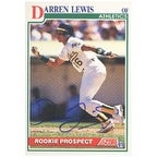 Darren Lewis Oakland Athletics 1991 Score Rookie Autographed Card Rookie Card This item comes with a certificate of