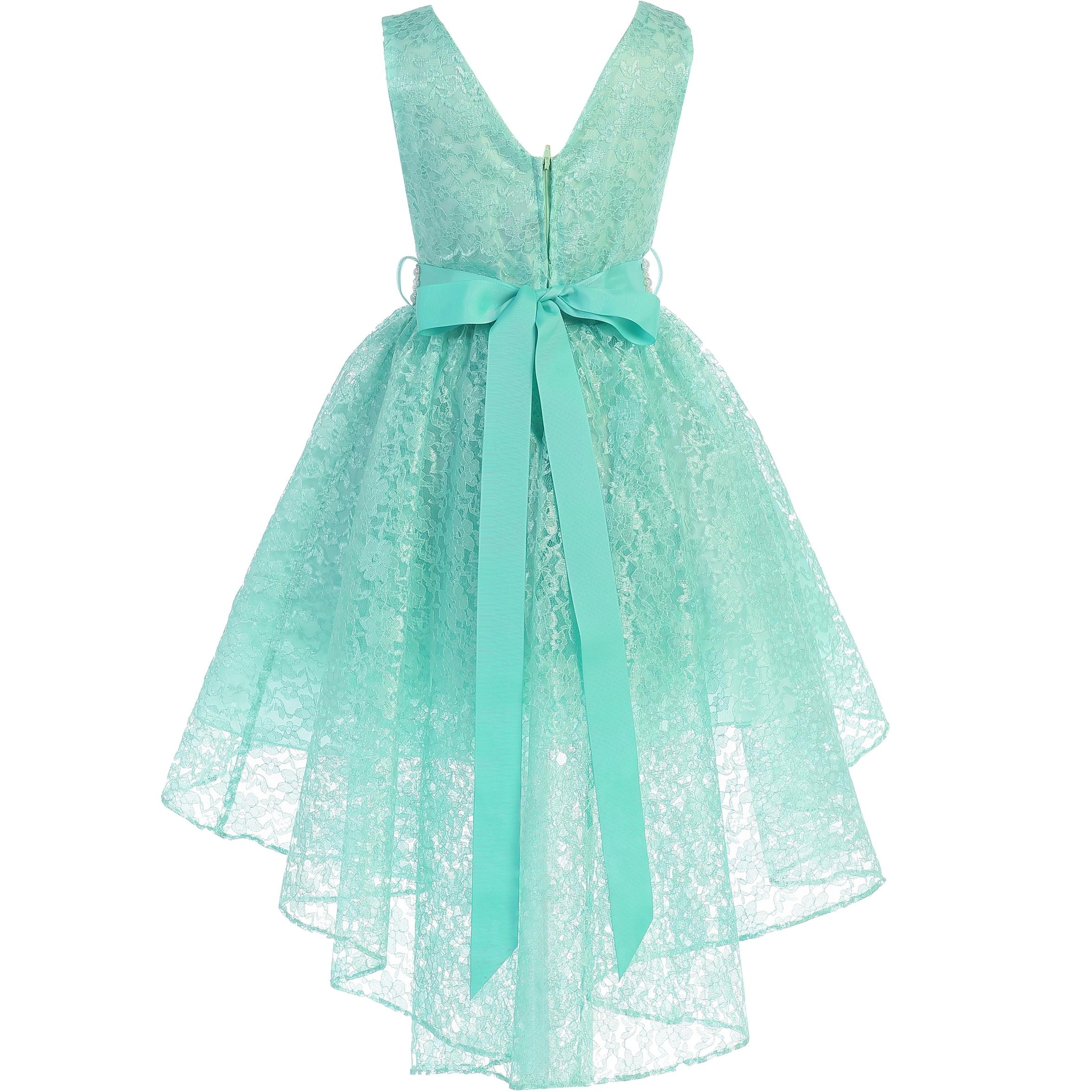 Toddler Kid Flower Girl Dress High Low Princess Birthday Baptism Christening