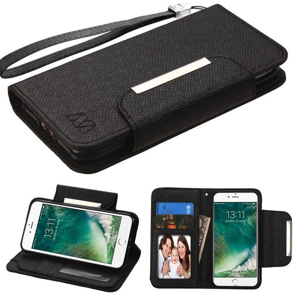 Insten Leather Case Cover Lanyard with Stand/ Wallet Flap Pouch/ Photo Display For Apple iPhone 7