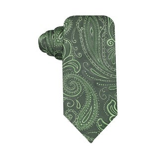 Geoffrey Beene Hand Made Silverado Paisley Classic Silk Blend Tie Green - One Size Fits most
