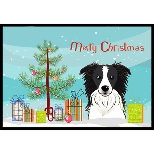 Carolines Treasures BB1613MAT Christmas Tree & Border Collie Indoor or Outdoor Mat 18 x 27