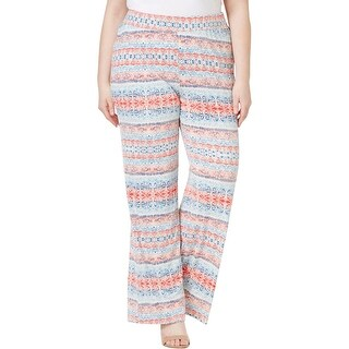NY Collection Womens Plus Palazzo Pants Jersey Printed