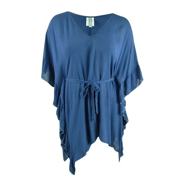 Isabella Rose Women's Crinkle In Time Tunic Swim Top Cover-Up (M/L, Navy) - Navy - M/L. Opens flyout.