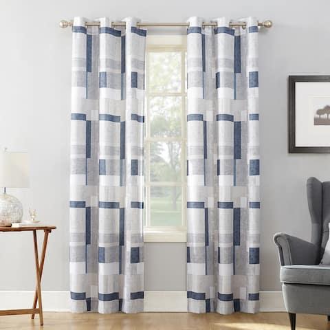 No. 918 Takumi Geometric Blocks Semi Sheer Grommet Curtain Panel