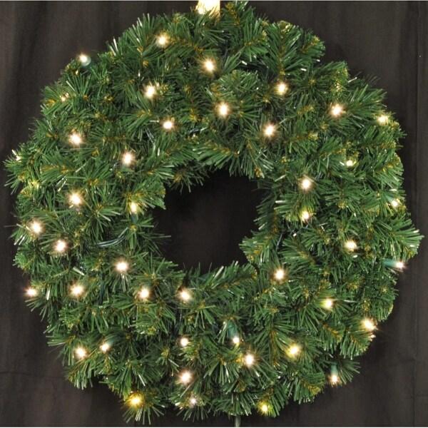 Christmas at Winterland WL-GWSQ-02-LWW 2 Foot Pre-Lit Warm White LED Sequoia Wreath - Warm White - N/A