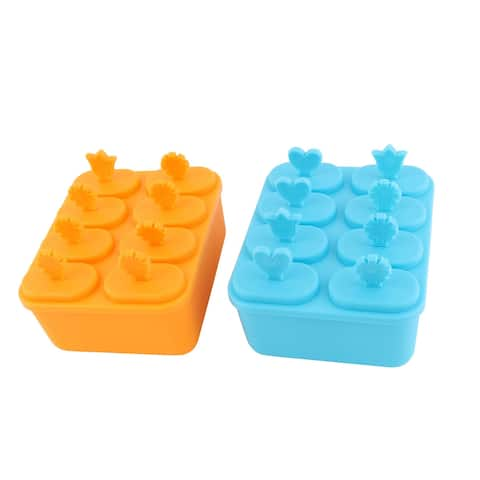 Unique Bargains Household Refrigerator Plastic Square 8 Slot Ice Cream Ice Mold Blue Orange 2pcs