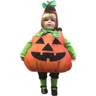 Porcelain Doll in Pumpkin Halloween Costume