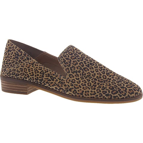 Lucky Brand Womens Cahill Smoking Loafers Leather Slip On - Leopard/Distressed - 8 Medium (B,M)