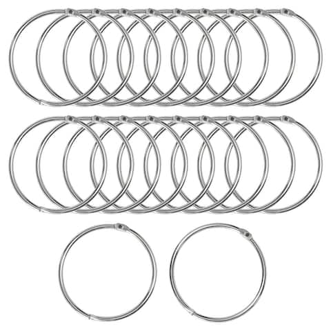 """20Pcs Metal Curtain 0.8""""Snap Joint Drape Loops for Bathroom Curtain Rods - Silver Tone - 0.8"""""""
