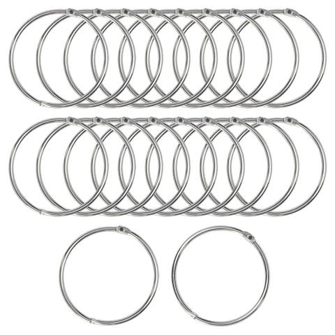 """20Pcs Metal Curtain Rings Snap Joint Design for 2.5"""" Curtains Rod - Silver Tone"""