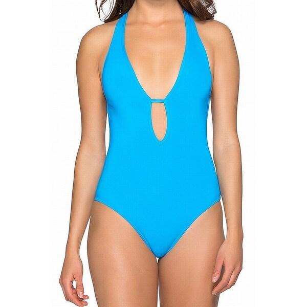 Jets by Jessika Allen Blue Women Size 10 One-Piece Cutout Swimwear