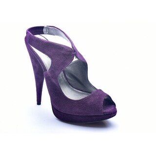 Miu Miu Women's Suede Peep Toe Pumps Purple