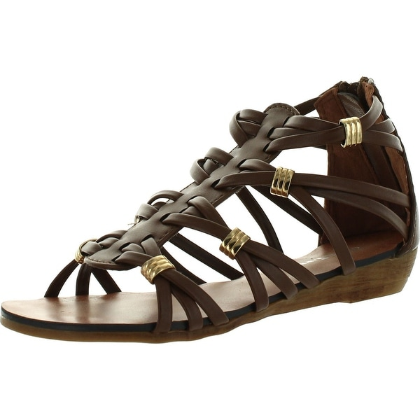 Link Rebel15 Kids Strappy Gold Accent Gladiator Roman Wedge Dress Sandals - Brown