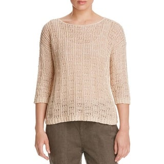 Eileen Fisher Womens Petites Blouse Long Sleeve Knit - pl