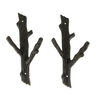 Brown Cast Iron Rustic Double Tree Branch Wall Hook Set of 2 - 11 X 5 X 2.75 inches