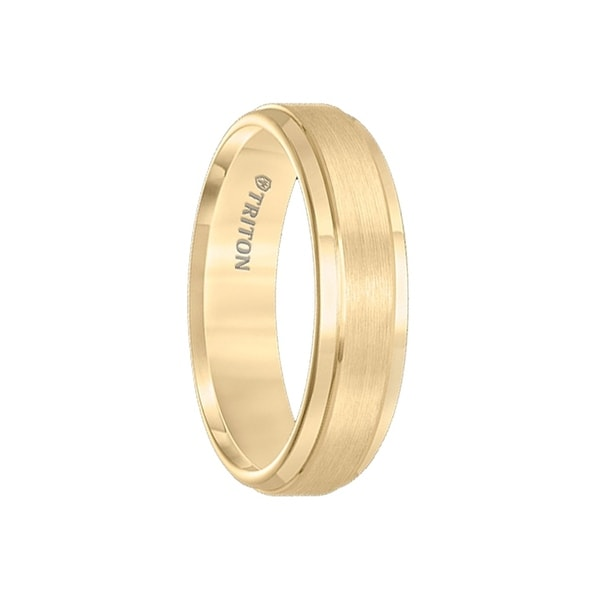BOYD Gold Plated Tungsten Carbide Wedding Band with Polished Step Edges and Raised Brush Finished Center by Triton Rings - 6mm