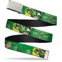 Blank Chrome  Buckle Green Arrow Poses What Can One Man Do? Greens Web Belt