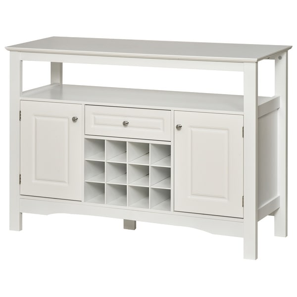 HOMCOM Modern Kitchen Buffet Bar Cabinet Storage with Drawer and 12-Bottle Wine Rack for Living Room. Opens flyout.