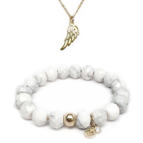 "White Howlite 7"" Bracelet & Angel Wing Gold Charm Necklace Set"