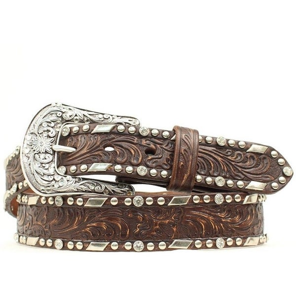 Ariat Western Belt Womens Embossed Overlay Studs Brown