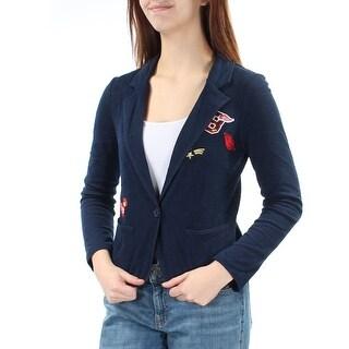 FRESHMAN FOREVER $44 Womens New 1213 Navy Embroidered Jacket M Juniors B+B