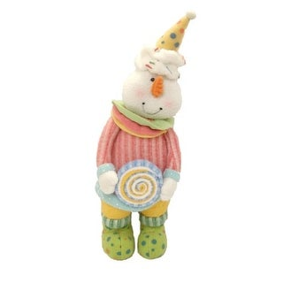 "13"" Glittery Pastel Plush Christmas Candy Girl Snowman"