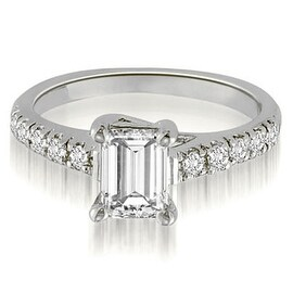 0.70 cttw. 14K White Gold Petite Emerald And Round Cut Diamond Engagement Ring (More options available)