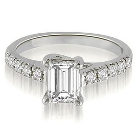 0.70 cttw. 14K White Gold Petite Emerald And Round Cut Diamond Engagement Ring