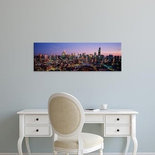 Easy Art Prints Panoramic Images's 'Skyscrapers in a city lit up at dusk, Chicago, Illinois, USA' Premium Canvas Art