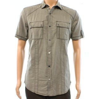 INC NEW Brown Taupe Mens Size 2XL Button Down Short-Sleeve Seamed Shirt