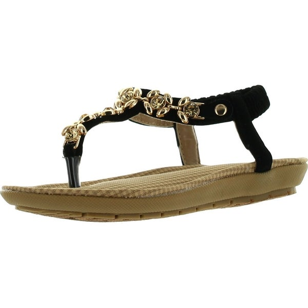 Link Calista56 Kids Metallic Floral Rhinestone T-Strap Comfort Cushioned Thong Sandals