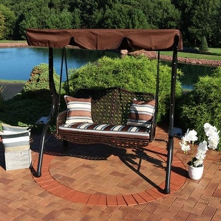 Sunnydaze 2-Seater Rattan Patio Swing with Striped Pillows and Cushion - Brown