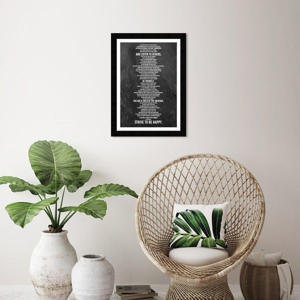 Wynwood Studio 'Desiderata Print' Typography and Quotes Black Wall Art Framed Print. Opens flyout.