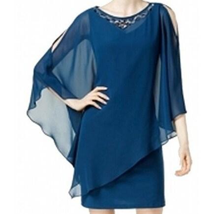SLNY NEW Blue Teal Women's Size 14 Embellished Popover Sheath Dress
