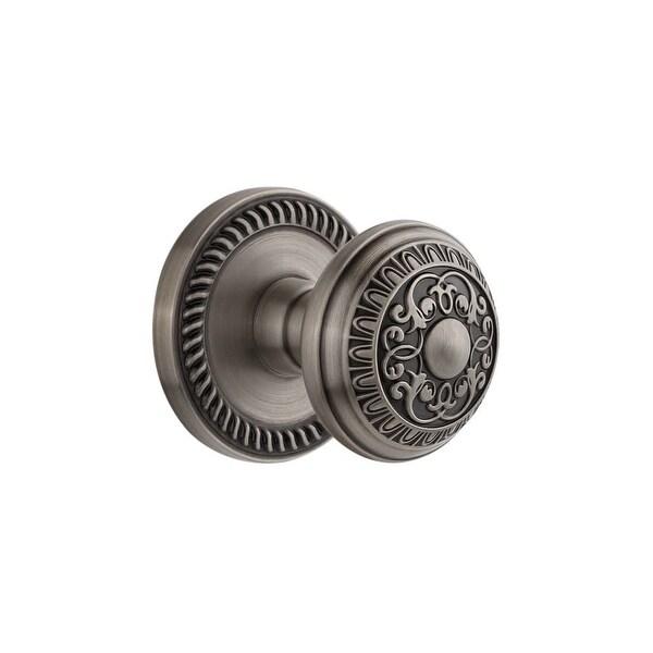 "Grandeur NEWWIN_PRV_238 Newport Solid Brass Rose Privacy Door Knob Set with Windsor Knob and 2-3/8"" Backset"