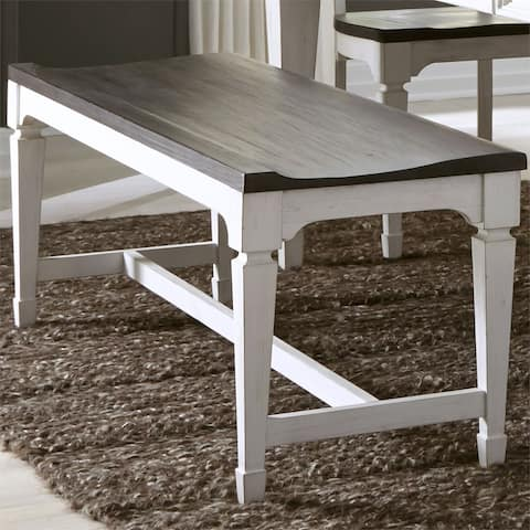 Allyson Park Wirebrushed White Wood Seat Bench
